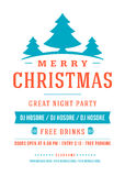 Merry Christmas party poster retro typography and Royalty Free Stock Photo