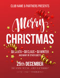 Merry Christmas Party Poster. Vector illustration Stock Photography