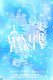 Merry Christmas party template. Snowflakes, lettering, ornate fir and winter trees royalty free illustration