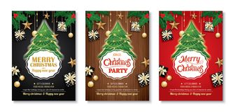 Merry christmas party and tree on background invitation theme co. Ncept. Happy holiday greeting banner and card design template Stock Photos