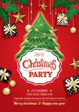 Merry christmas party and tree on red background invitation them Stock Photography