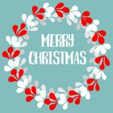 Merry Christmas pastel vector card with wreath Royalty Free Stock Image
