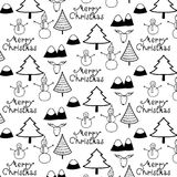 Merry Christmas Pattern With Black And White Mountain, Tree, Snow man And Deer. Vector Illustration Royalty Free Stock Photography