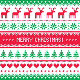Merry Christmas pattern with deer - scandynavian sweater style Royalty Free Stock Image