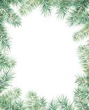Merry Christmas pattern with firtree border. Watercolor handdrawn illustration isolated on white. Merry Christmas pattern with firtree border. Watercolor Royalty Free Stock Photography