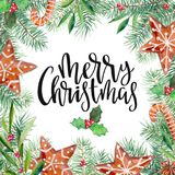 Merry Christmas pattern, gingerbread, firtree, olive, holly and lettering. Watercolor handdrawn illustration isolated on white. Merry Christmas pattern Royalty Free Stock Photo