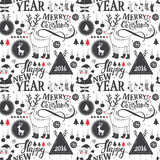 Merry Christmas pattern. Hipster New Year and Merry Christmas seamless pattern Royalty Free Stock Images