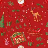 Merry Christmas pattern. Christmas icons on a red background. Merry Christmas pattern. Vector pattern with Christmas icons on a red background. Illustration Royalty Free Stock Photos