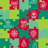 Merry Christmas pattern from puzzles. Jigsaw puzzle game. Vector illustration Stock Image