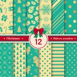 Merry Christmas pattern seamless collection. X-mas background. Merry Christmas pattern seamless collection. Set of 12 X-mas winter holiday background. Endless royalty free illustration