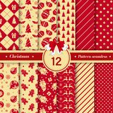 Merry Christmas pattern seamless collection. Red and gold color. Merry Christmas pattern seamless collection. Set of 12 X-mas winter holiday background . Endless royalty free illustration