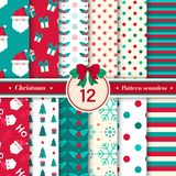 Merry Christmas pattern seamless collection. Red and green color. Merry Christmas pattern seamless collection. Set of 12 X-mas winter holiday background vector illustration