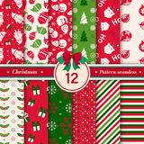 Merry Christmas pattern seamless collection. Red and green color. Merry Christmas pattern seamless collection. Set of 12 X-mas winter holiday background royalty free illustration