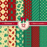 Merry Christmas pattern seamless collection. Red, green, gold color. Merry Christmas pattern seamless collection. Set of 12 X-mas winter holiday background vector illustration