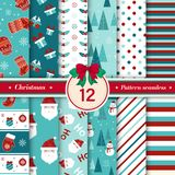 Merry Christmas pattern seamless collection. Red, white, blue color. Merry Christmas pattern seamless collection. Set of 12 X-mas winter holiday background vector illustration