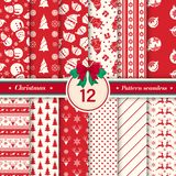 Merry Christmas pattern seamless collection. Red and white color. Merry Christmas pattern seamless collection. Set of 12 X-mas winter holiday background stock illustration