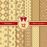 Merry Christmas pattern seamless collection. Gold color. Merry Christmas pattern seamless collection. Set of 12 X-mas winter holiday background . Endless texture stock illustration