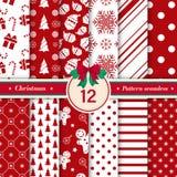 Merry Christmas pattern seamless. Xmas background red and white colors. Merry Christmas pattern seamless collection. Set of 12 Xmas background red and white stock illustration