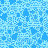 Merry Christmas pattern seamless on light blue background Stock Image