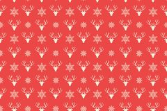 Merry Christmas pattern seamless. Reindeer head background. Red xmas wallpaper. Endless texture for gift wrap, wallpaper, web banner background, wrapping paper vector illustration
