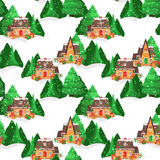 Merry Christmas pattern. Merry Christmas seamless vector pattern with houses, christmas tree and snowflakes Royalty Free Stock Photography