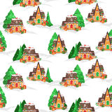 Merry Christmas pattern. Merry Christmas seamless vector pattern with houses, christmas tree and snowflakes Royalty Free Stock Photo