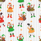 Merry Christmas pattern. Merry Christmas seamless vector pattern with snowman,gifts and stars Stock Photos