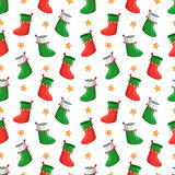 Merry Christmas pattern. Merry Christmas seamless vector pattern with socks and stars Stock Photo