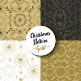 Merry christmas pattern set gold nature holiday. Merry Christmas seamless pattern set of fancy golden vintage designs: nature, firework explosion and boho Stock Photos