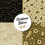 Merry christmas pattern set gold retro 80s holiday. Merry Christmas seamless pattern set of fancy golden geometry designs in 80s retro style. Ideal for Xmas Stock Photo