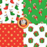 Merry Christmas pattern. Merry Christmas set of seamless patterns with stars, candies, socks and gifts Royalty Free Stock Photos