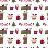 Merry Christmas Pattern with Winter Holiday Stock Images