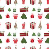Merry Christmas Pattern with Winter Holiday Stock Photo