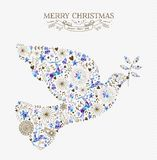 Merry christmas peace dove vintage holiday element Royalty Free Stock Photo