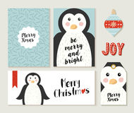 Merry Christmas penguin card and label set Royalty Free Stock Photo