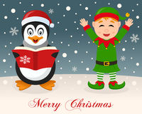 Merry Christmas - Penguin & Cute Green Elf Stock Images