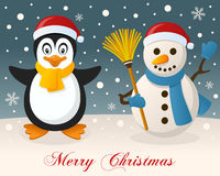 Merry Christmas - Penguin & Cute Snowman Stock Photography