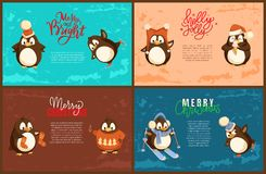 Merry Christmas Penguin Scarf Skiing Character. Merry Christmas penguin with scarf skiing character vector. Poster with animal wearing warm clothes. Celebration stock illustration