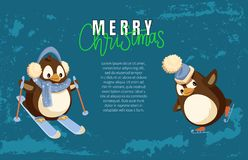 Merry Christmas Penguin Skiing Active Winter Hobby. Vector. Poster with text sample, animal wearing scarf and hats, warm clothes protection from cold royalty free illustration