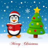 Merry Christmas with Penguin and Tree Stock Photo