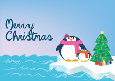 Merry Christmas with penguins Stock Images