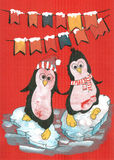 Merry christmas penguins Royalty Free Stock Photography