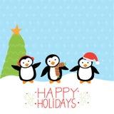 Merry christmas penguins Stock Photo