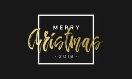 Merry Christmas phrase in frame. Luxury black and golden color background. Premium vector illustration with typographic Royalty Free Stock Photos