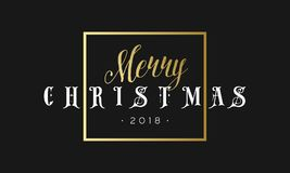 Merry Christmas phrase in frame. Luxury black and golden color background. Premium vector illustration with typographic Royalty Free Stock Image
