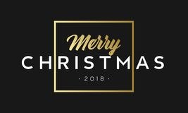 Merry Christmas phrase in frame. Luxury black and golden color background. Premium vector illustration with typographic Stock Photos