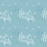 Merry christmas phrase on frosty seamless background Royalty Free Stock Images