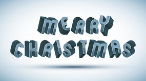 Merry Christmas phrase, greeting card 3d retro letters Stock Images