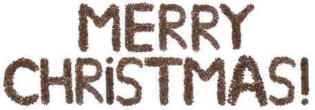 Merry Christmas phrase made of cedar  nuts Royalty Free Stock Image