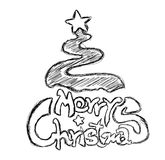 Merry Christmas Phrase Sketch Royalty Free Stock Photos